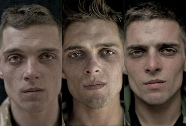 Antes, durante e depois: as marcas da guerra no rosto dos soldados -  olhos vermelhos, barbas e mais magros. Clique na imagem para ver a galeria completa (Foto: Lalage Snow)