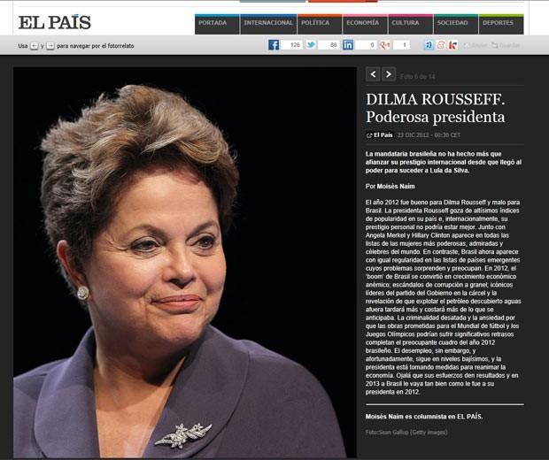 A presidente do Brasil, Dilma Rousseff, em perfil no site do 'El País' neste domingo (23) (Foto: Reprodução)