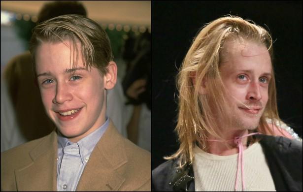 Na foto à esquerda, Macaulay Culkin está com 18 aninhos, no começo de 1999. Na foto à direita, de outubro de 2014, o astro de 'Esqueceram de Mim' (1990) parece bem desgastado para um homem de 34 anos. (Foto: Getty Images)