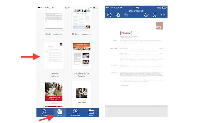 Acessando e alterando um modelo de currículo do Word no iOS (Foto: Reprodução/Marvin Costa)