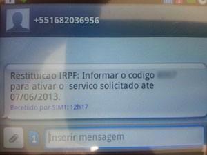 'SMS pirata' enviado pela Receita Federal. (Foto: Reprodução/Mobile Entretainment Fórum)