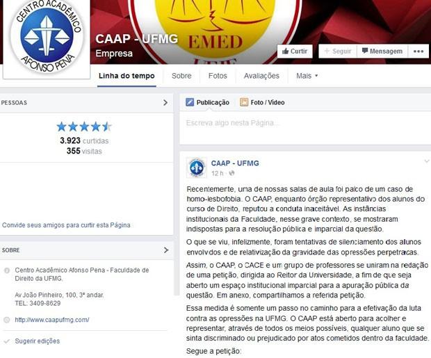 Mensagem postada no perfil do Centro Acadêmico Afonso Pena (CAAP) no Facebook (Foto: Reprodução / Facebook)
