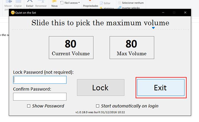 Clique em Exit para encerrar o controle de volume do Windows (Foto: Reprodução/Elson de Souza)