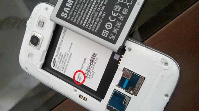 Em destaque, o local do IMEI em um Galaxy S3  (Foto: Reprodução/Aline Jesus)