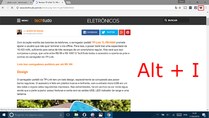 Google Chrome abrirá aba anônima no ícone de extensão ou com comando Alt+I (Foto: Reprodução/Elson de Souza)