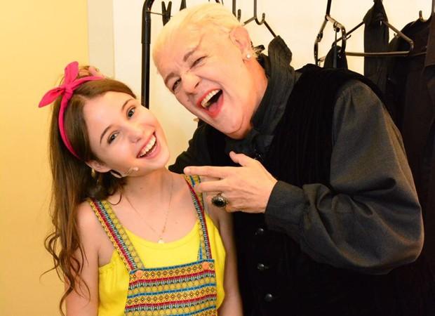 Mari Cardoso e Ney Latorraca no camarim do musical 'Vamp' (Foto: Divulgação)