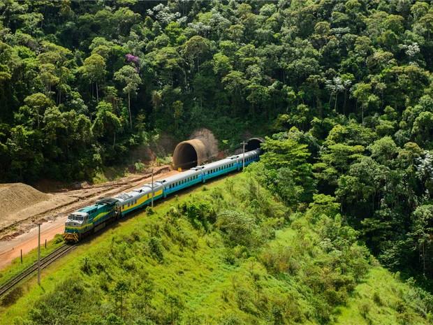 Trem de passageiros da Vale - Vitória Minas (Foto: Divulgação/ Vale)
