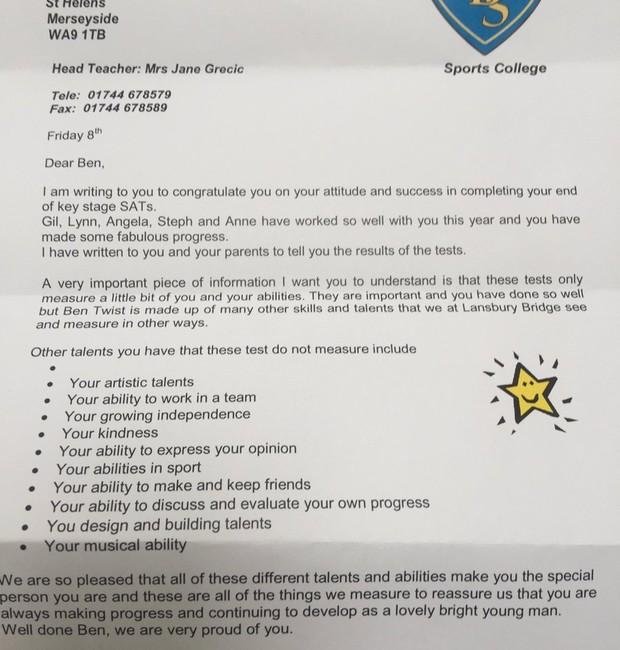 Carta que a escola de Ben enviou a ele após ser reprovado nos exames (Foto: Reprodução)
