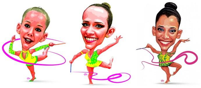 Emanuelle Lima, Natália Gáudio e Francielly Machado (ginástica rítmica) (Foto: Amarildo/Ed. de Artes/A Gazeta)