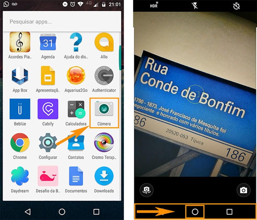 Abra o aplicativo de câmera no Android e ative o detector de tela do Google Now (Foto: Reprodução/Barbara Mannara)