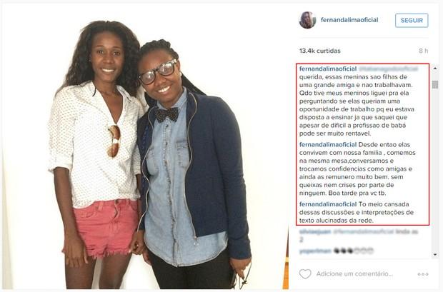 Fernanda Lima responde seguidora no Instagram (Foto: Instagram / Reprodução)