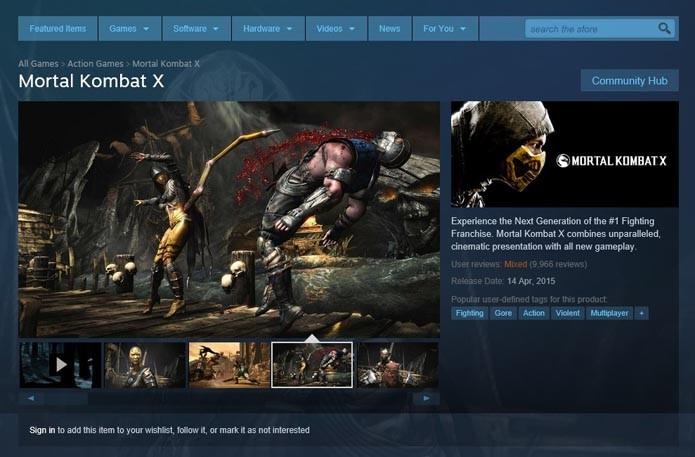 Tela de Mortal Kombat X no Steam (Foto: Reprodução/André Mello)