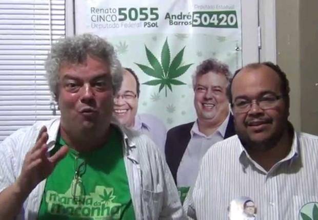 André Barros e Renato Cinco, candidatos do PSOL (Foto: Reprodução/YouTube)