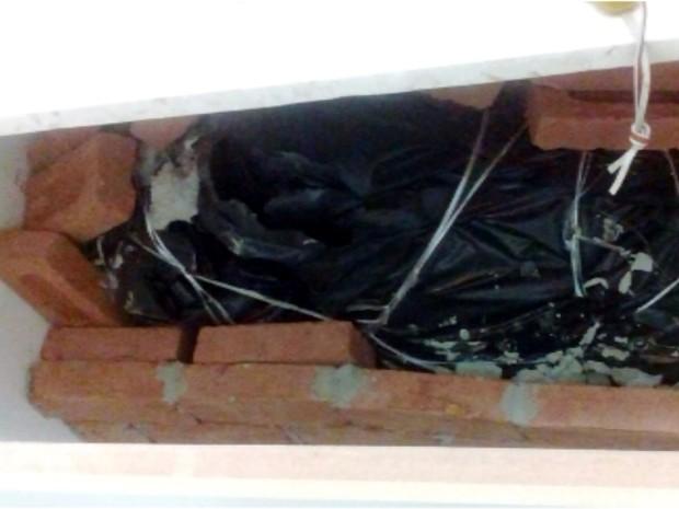 Corpo da mulher estava em saco plástico em urna debaixo da pia em Campinas (Foto: Reprodução / EPTV)