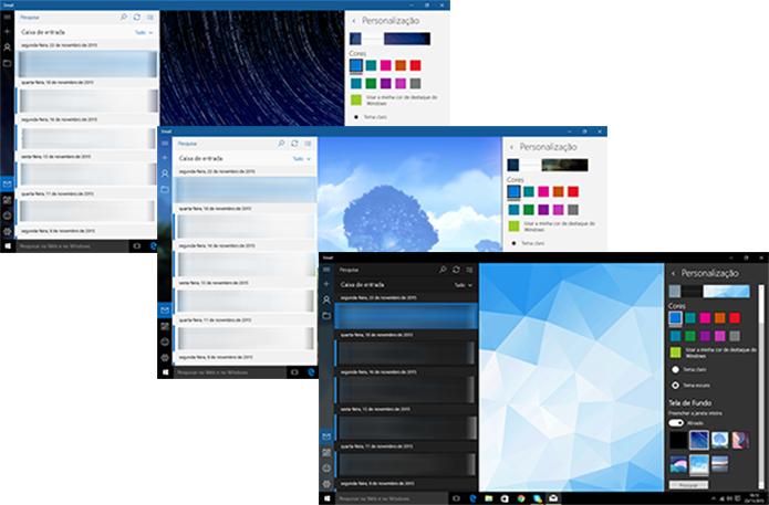 Aplicativo de e-mail do Windows 10 pode ter diversos planos de fundo e personalizações aplicadas (Foto: Reprodução/Elson de Souza)