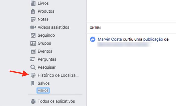 Ação para acessar o histórico de localização do Facebook (Foto: Reprodução: Marvin Costa)