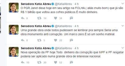 A senadora Katia Abreu escreve no Twitter sobre obra contra corrupção (Foto: Reprodução/ Twitter)