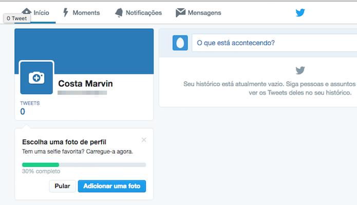 Conta do Twitter criada através do computador (Foto: Reprodução/Marvin Costa) (Foto: Conta do Twitter criada através do computador (Foto: Reprodução/Marvin Costa))