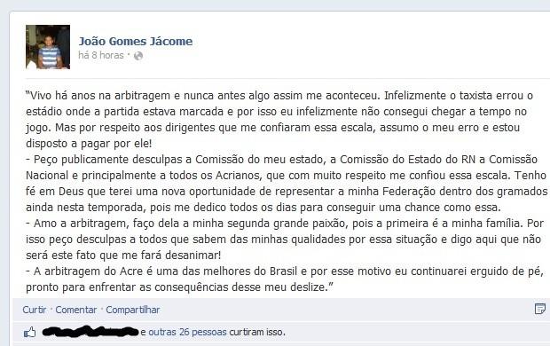João Jácome publica nota em sua página pessoal no Facebook (Foto: Reprodução/Facebook)