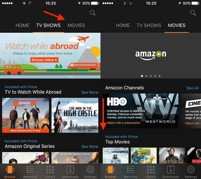 Opções de conteúdo do Amazon Prime Vídeo (Foto: Reprodução/Marvin Costa)