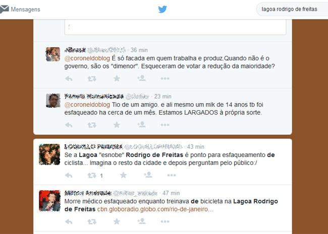 Internautas fazem críticas à falta de segurança na Lagoa Rodrigo de Freitas (Foto: Reprodução / Twitter)