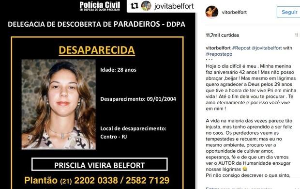 BLOG: Vítor Belfort lembra aniversário de 42 anos da irmã Priscila, desaparecida