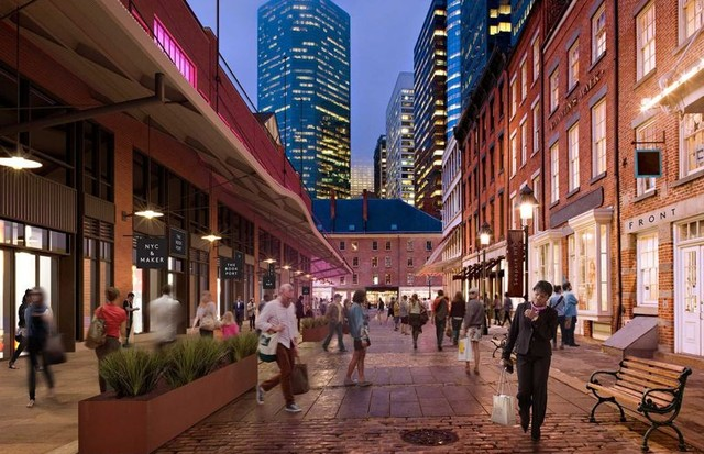 Architect's rendering of Front Street near Beekman Street, part of the Howard Hughes Corporation's Seaport development in New York (Foto: THE HOWARD HUGHES CORPORATION)