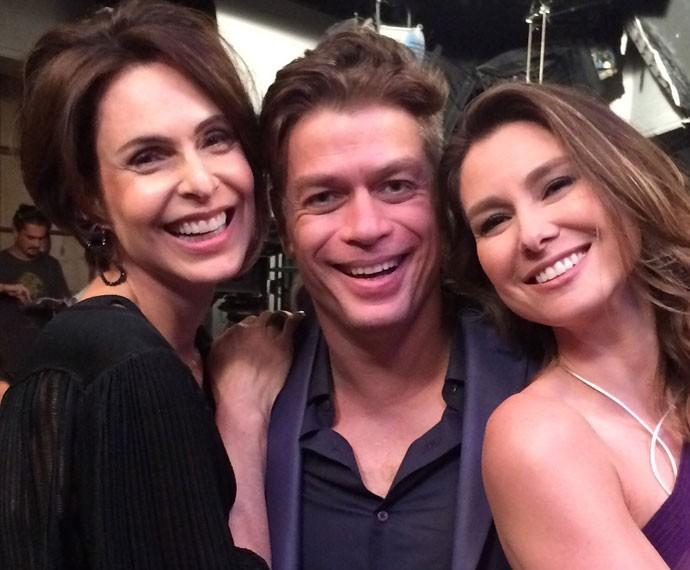 Sílvia Pfeifer, Fábio Assunção e Lavínia Vlasak se reencontram em gravação  (Foto: Arquivo Pessoal)
