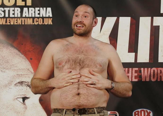Tyson Fury em coletiva de imprensa Boxe (Foto: Reuters)