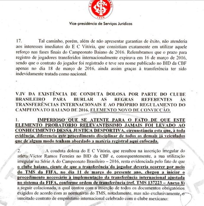 Documento Inter Victor Ramos (Foto: Reprodução)