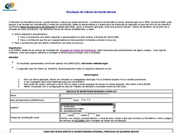 Simulador de tempo de contribuição da Previdência Social (Foto: Reprodução)