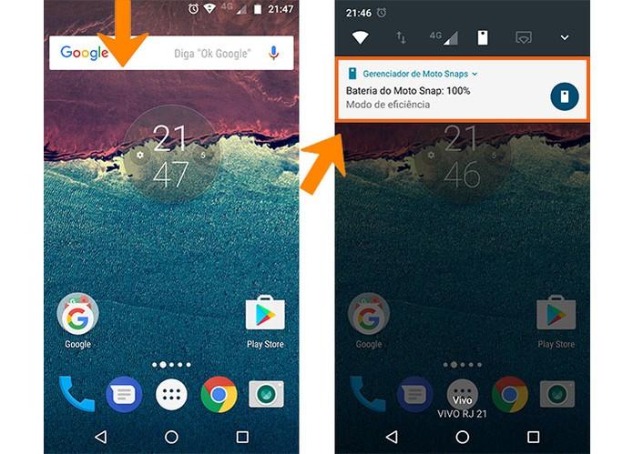 Veja a notificação da conexão da Moto Snap com o Moto Z (Foto: Reprodução/Barbara Mannara)