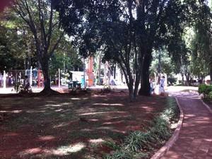 praça Erico Verissimo, em Cruz Alta, RS (Foto: Márcio Luiz/G1)