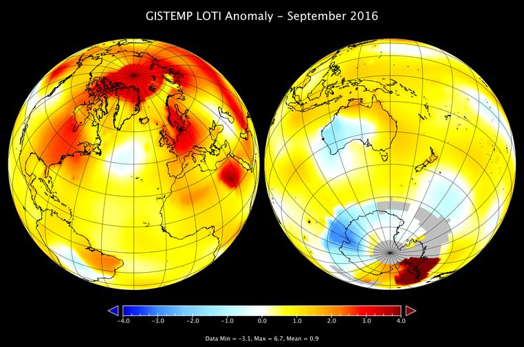 Mapa da temperatura na Terra em setembro de 2016 (Foto: Nasa/GISS)