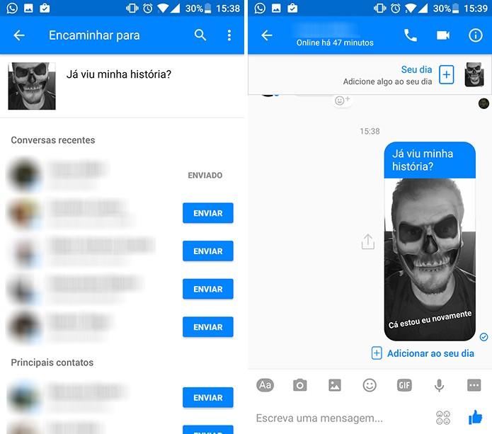Histórias do Messenger serão enviadas como fotos e vídeos comuns em chat (Foto: Reprodução/Elson de Souza)