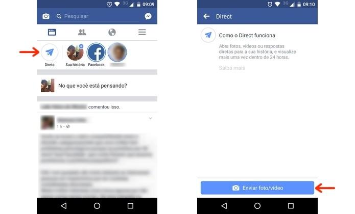 Abertura da ferramenta Facebook Direct, que envia histórias forma privada (Foto: Reprodução/Raquel Freire)