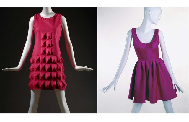 "Left: The Pierre Cardin ""Dynel (Cardine)"" dress with egg-carton effect, 1968. Gift of Lauren Bacall. Right: A neoprene and nylon dress by DKNY, 1994. Gift of DKNY (Foto: © THE MUSEUM AT FIT)"