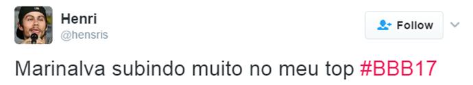 Tweet Marinalva Luiz Felipe (Foto: Reprodução da Internet)