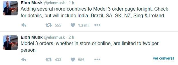 Elon Musk afirma em rede social que Tesla vai vender o Model 3 no Brasil (Foto: Reprodução / Twitter)