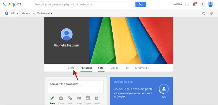 Entre na área sobre do Google+ (Foto: Reprodução/ Gabriella Barreira)