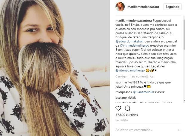 Marília Mendonça de aplique (Foto: Reprodução/Instagram)