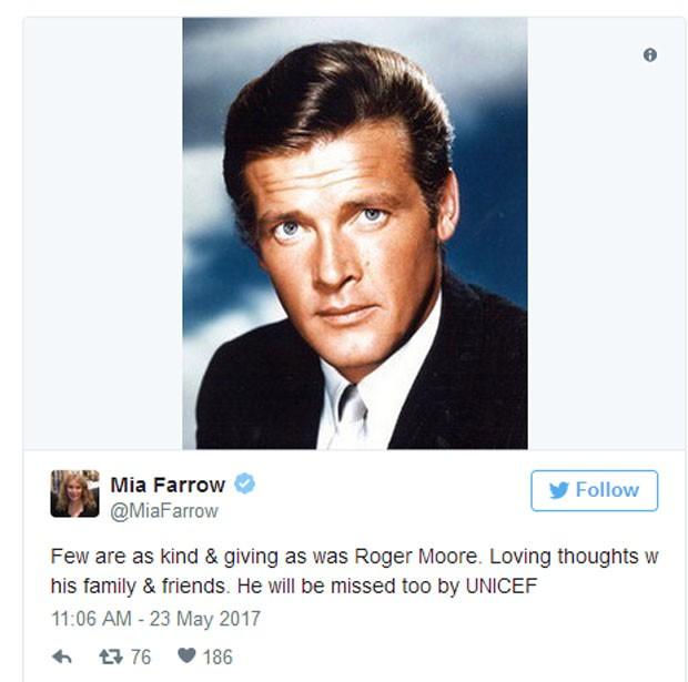 Mia Farrow presta homenagem a Roger Moore (Foto: Reprodução)