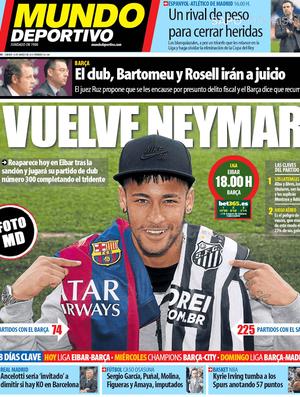 Capa Mundo Deportivo Neymar 300 jogos (Foto: Reprodução)