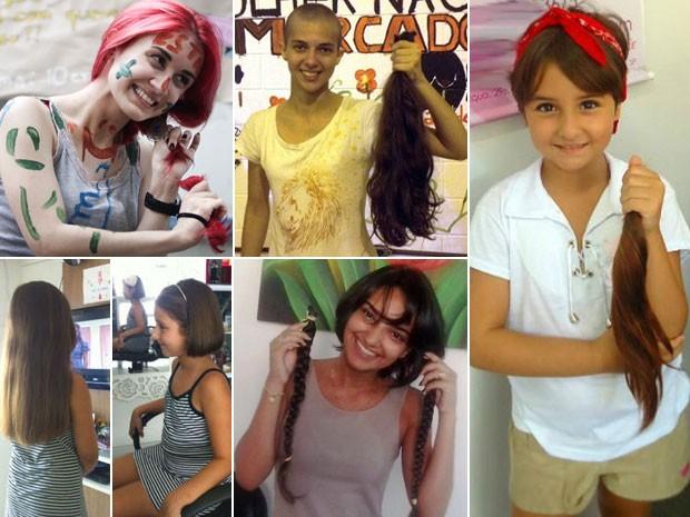 Jovens e crianças cortam seus cabelos para a produção de perucas a pacientes com câncer (Foto: Caio Kenji/G1/Arquivo pessoal)