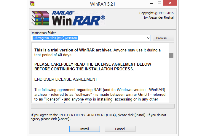 Software permite escolher em qual pasta será instalado (Foto: Reprodução/WinRAR)