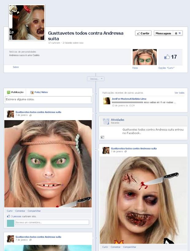 Página criada por fãs de Gusttavo Lima contra sua namorada (Foto: Facebook / Reprodução)