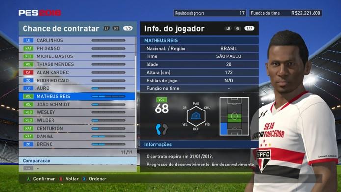 Jogador é o pior brasileiro do SPFC em PES 2016 (Foto: Reprodução/Murilo Molina)
