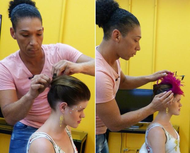 Wellington faz coque e usa acessório rosa para combinar com a maquiagem (Foto: Melina Mantovani / Gshow)
