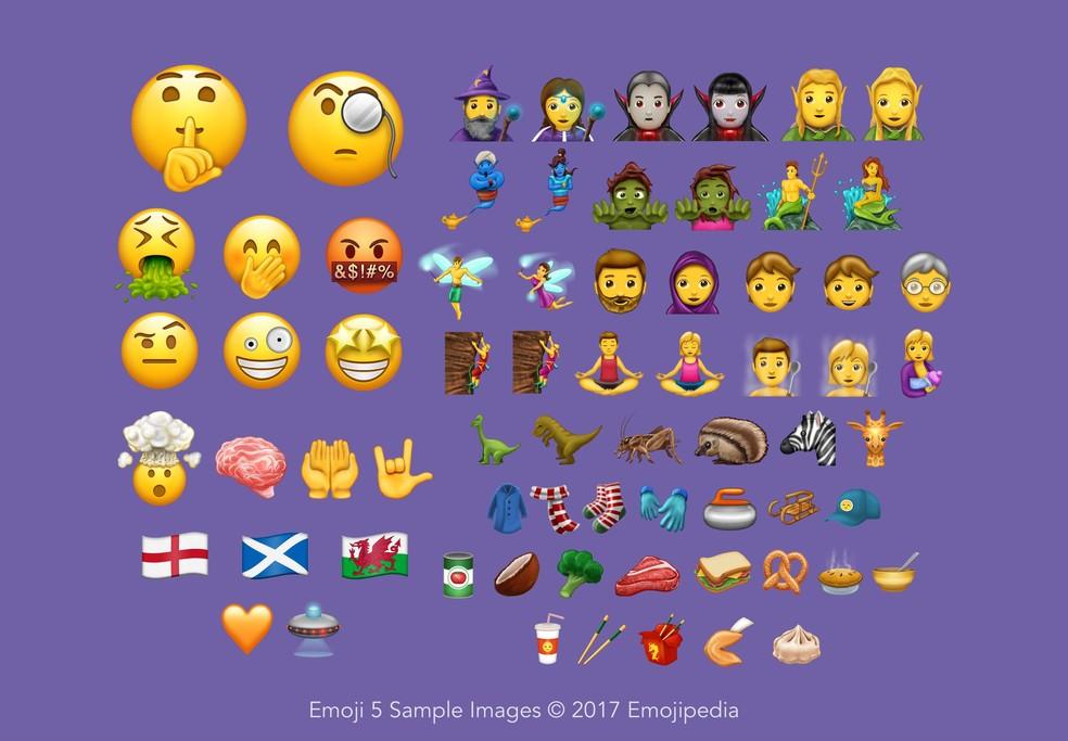 Emoji 5.0 tem 69 novos emojis, ou 239 se considerar variações de gênero e tom de pele (Foto: Reprodução/Emojipedia)