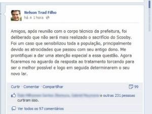 Postagem Facebook prefeito de Campo Grande MS (Foto: Reprodução)